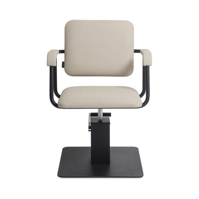 fauteuil de coiffure beige et noir