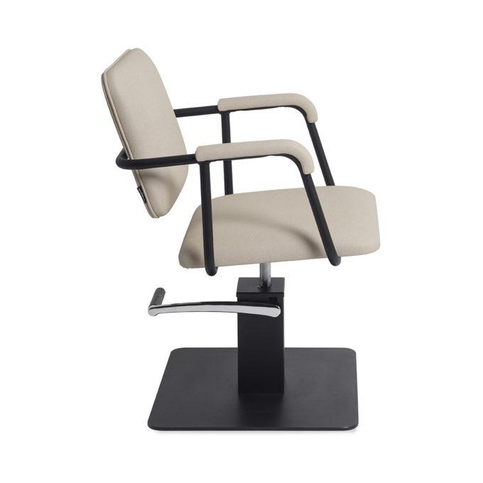Chaise de coiffure en métal noir et beige