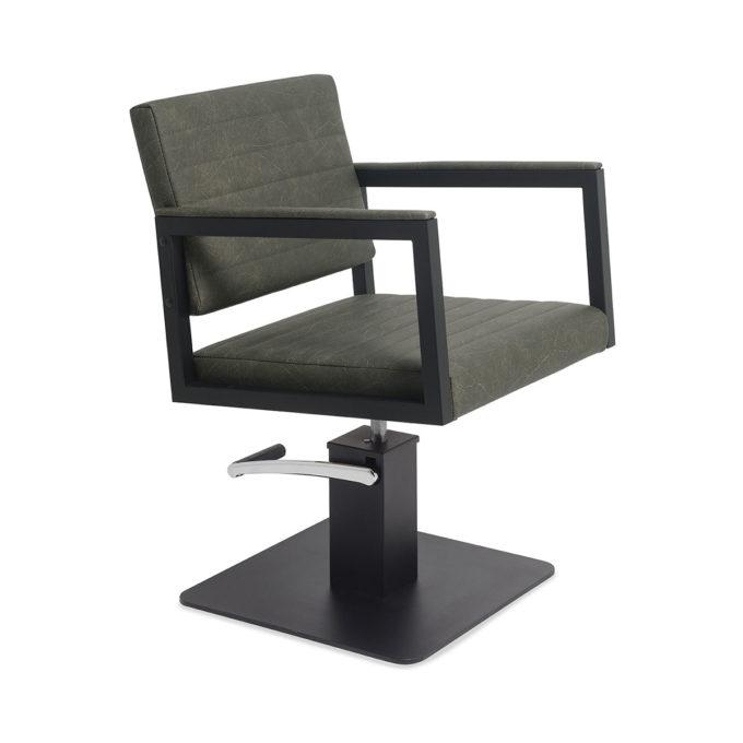 Chaise de coiffage en métal noir et revêtement en ski gris et pied carré noir