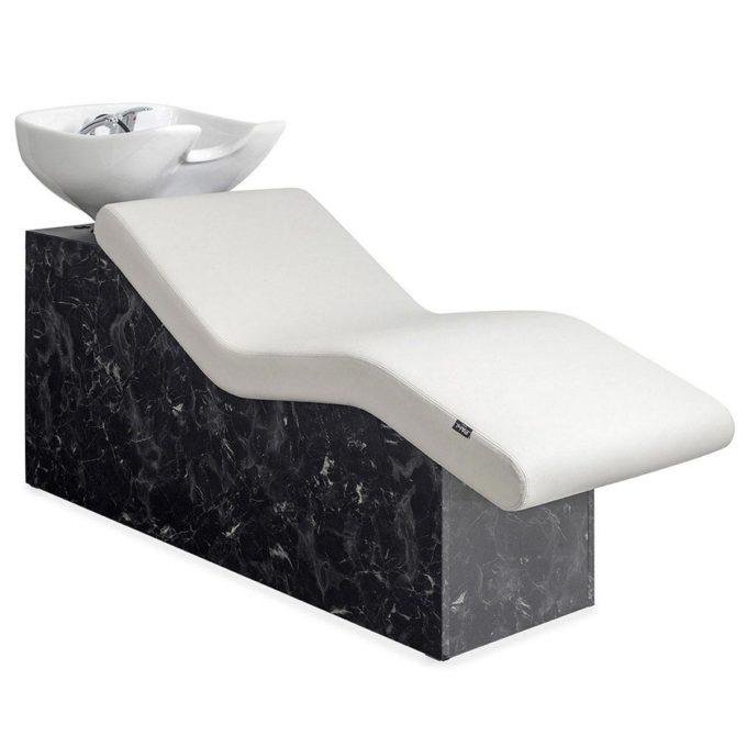 Bac à shampoing allongé, structure effet marbre noir avec vasque en céramique blanche ou noir