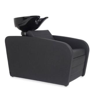 Bac de lavage avec évier noir et assise en skai noir