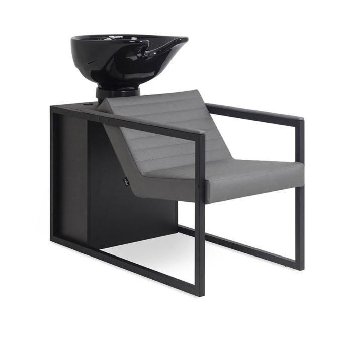 Bac de lavage structure en métal noir et stratifié avec assise en pvc gris, peu spacieux et économique