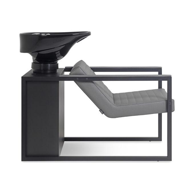 bac de lavage noir et gris avec structure en stratifié et métal noir