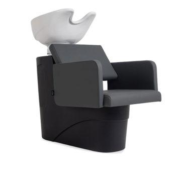 Bac de lavage économique structure et évier noir ou blanc, fauteuil avec assise confortable gris en similicuir