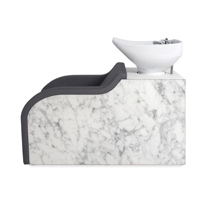 Bac de lavage marbre blanc, évier blanc avec fauteuil noir