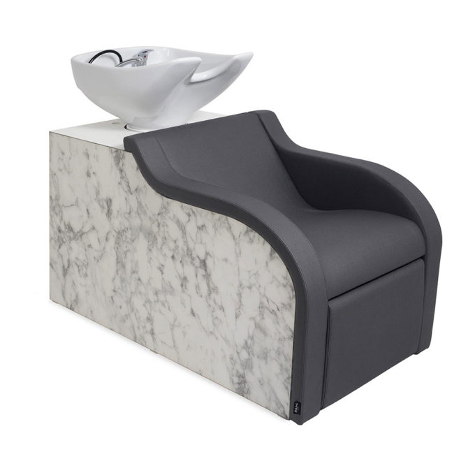 Bac de lavage en effet marbre avec vasque blanche, assise mousse épaisse et pvc noir