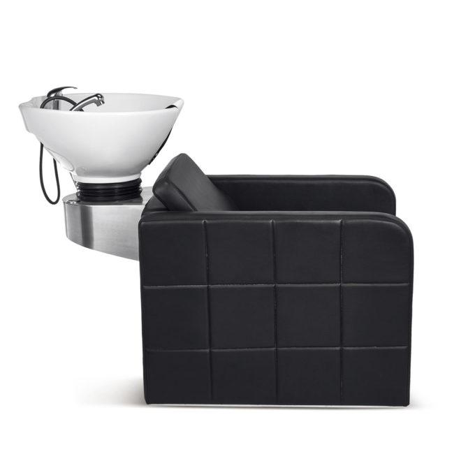 bac à shampoing effet capitonné noir support vasque inox
