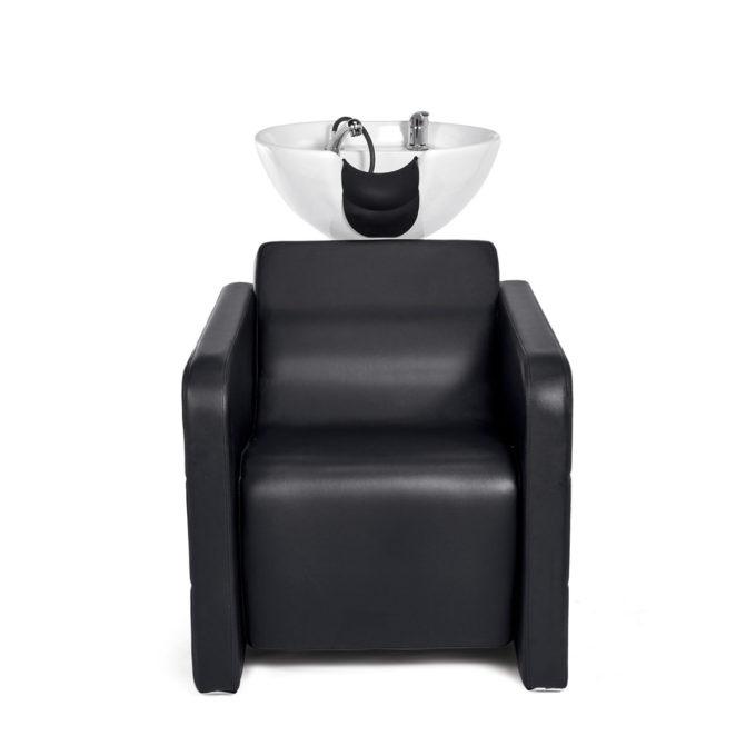 bac à shampoing noir avec protège nuque