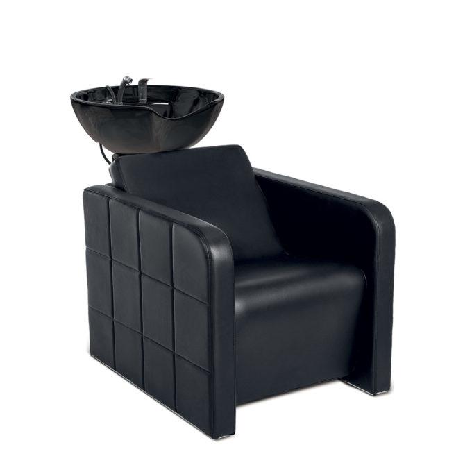 Bac de lavage noir effet matelassé avec évier en céramique noir et robinetterie incluse