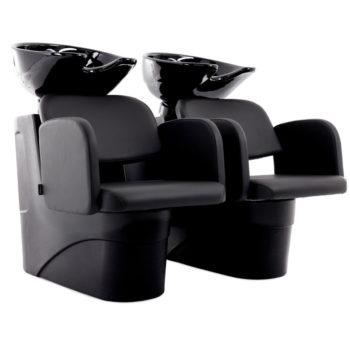 Double bacs à shampoing avec structures et vasques en noir ou blanc