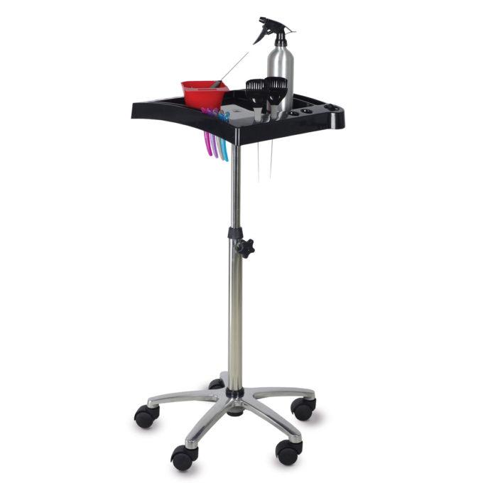 Chariot à roulettes réglable en hauteur avec tablette pour rangement kit de coloration