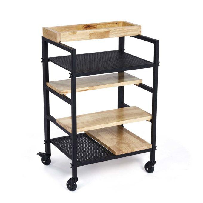 Meuble pour salon de coiffure avec compartiment pour coloration et étagères en bois et métal noir