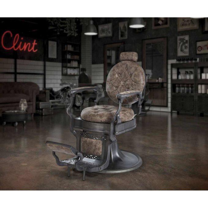 ambiance barbershop fauteuil barbier marron et noir rétro