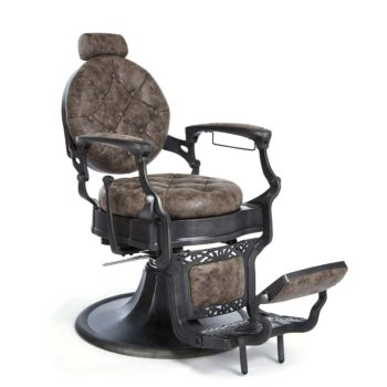 Fauteuil vintage de barbier marron effet cuir usé avec structure en métal noir brossé réglable en hauteur et inclinable