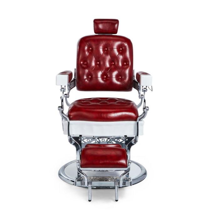 fauteuil de barbier vintage rouge en similicuir