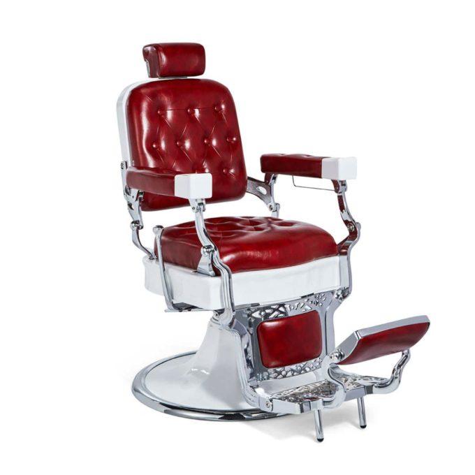 Fauteuil de barbier, réglable et inclinable, fintion rouge avec effet capitonné, structure métal brillant et blanc avec finition détaillé, style rétro et vintage