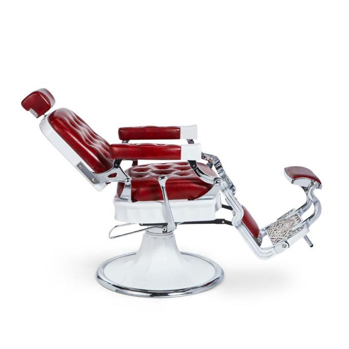 fauteuil de barbier inclinable et réglable en hauteur rouge et blanc