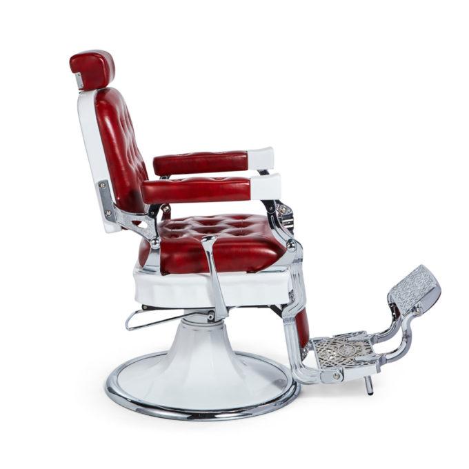 fauteuil de barbier rouge et blanc avec grand repose-pieds