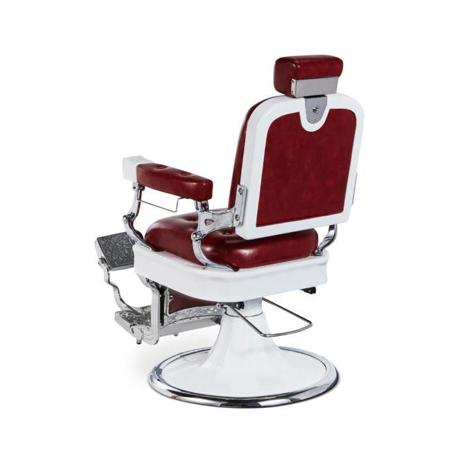fauteuil de barbier finitions rouge, blanc et chromé