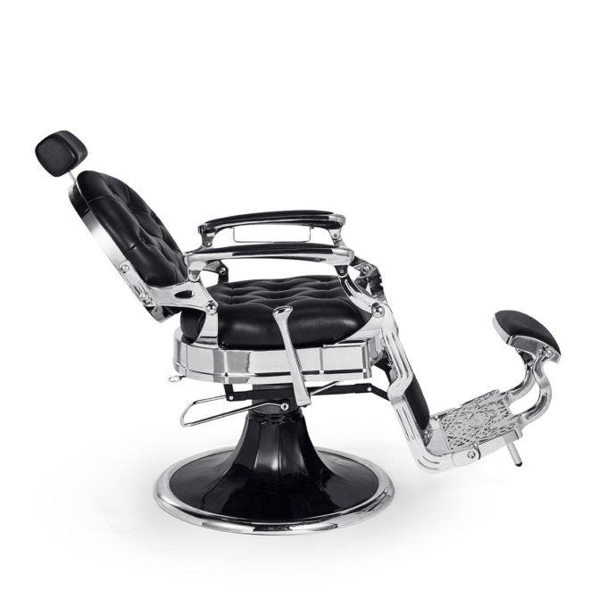 fauteuil de barbier noir et brillant avec grand pied