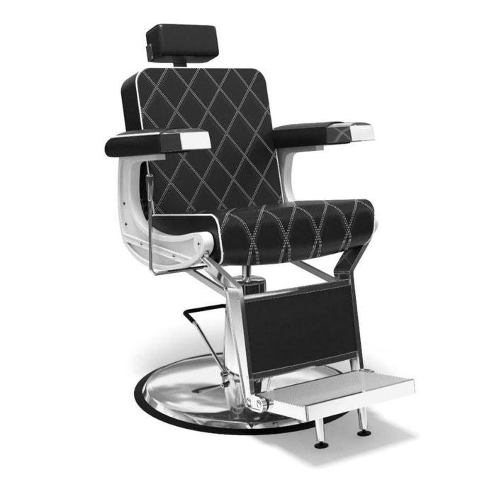 Fauteuil barbier vintage textile en PVC noir coutures blanches, pieds et finition en métal