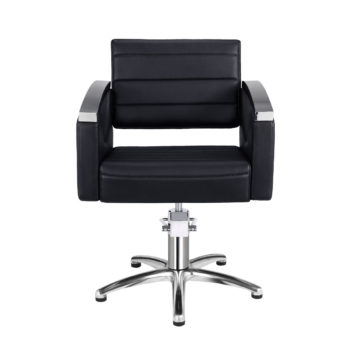 fauteuil retro chic noir et aluminium brillant pied étoile