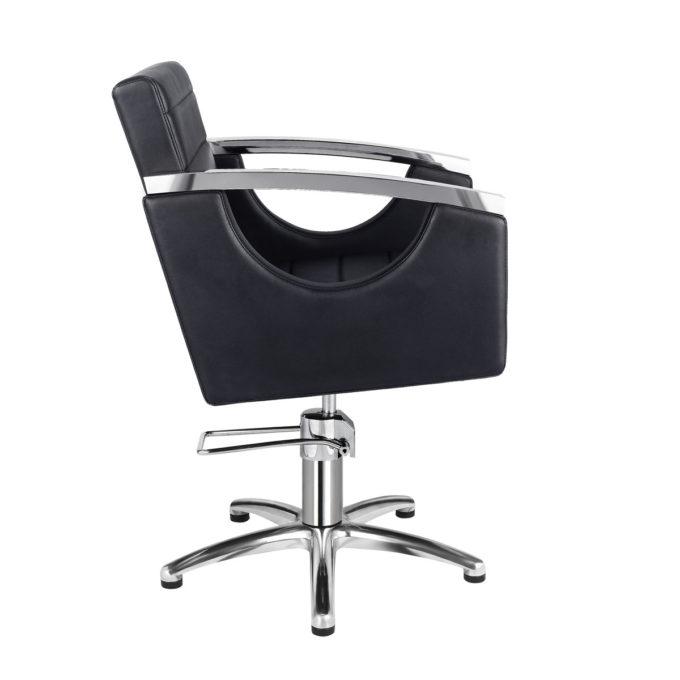 fauteuil retro chic noir et aluminium brillant