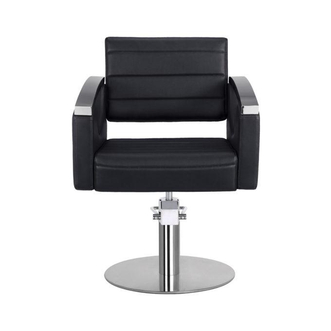 fauteuil noir pied rond finition pvc noir et aluminium
