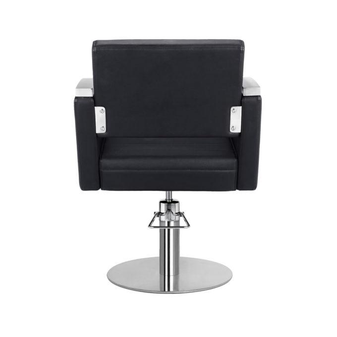 fauteuil retro chic noir et aluminium brillant pied rond