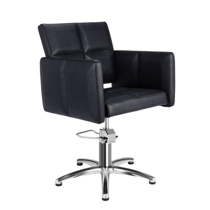fauteuil de coiffure pied étoile en métal brillant, large et confortable