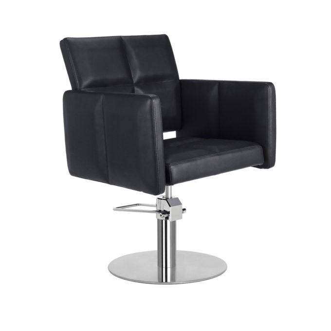 Fauteuil de coiffure large noir avec pied rond, carré ou étoile, en métal brillant, pompe hydraulique, classe et confortable