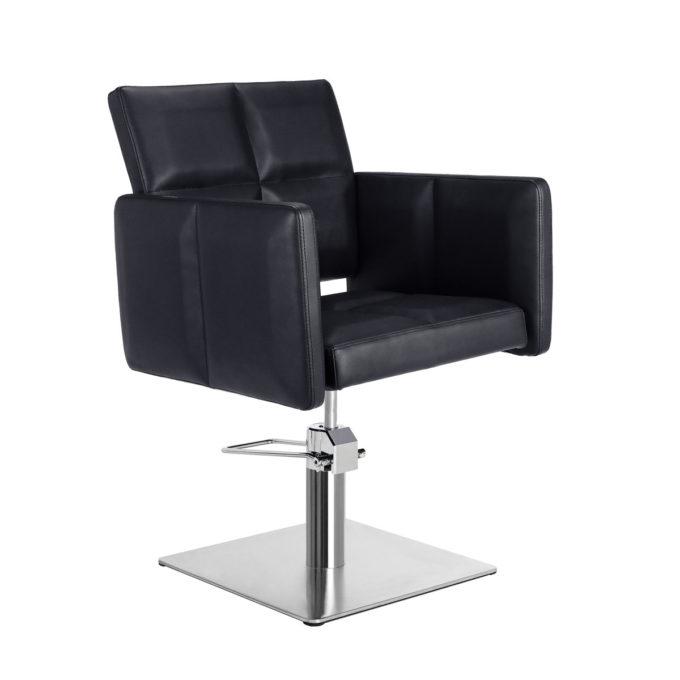 fauteuil matelassé noir avec pied carré réglable en hauteur