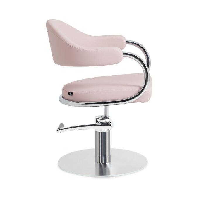 Fauteuil de coiffure rose pale avec pied rond et pompe de réglage en hauteur