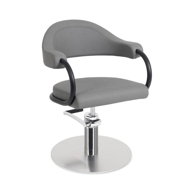 Fauteuil de coiffure gris avec pied en métal rond et contour en métal noir