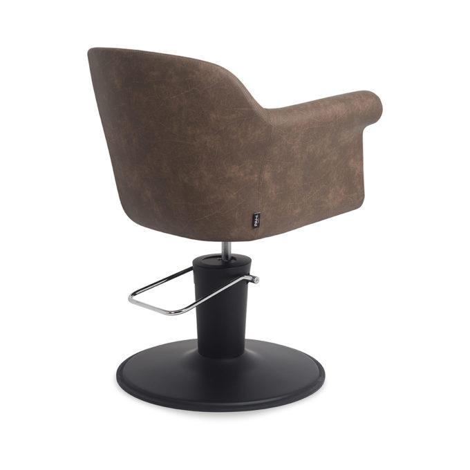 Chaise de coiffure avec pied noir chromé et assise en skai marron