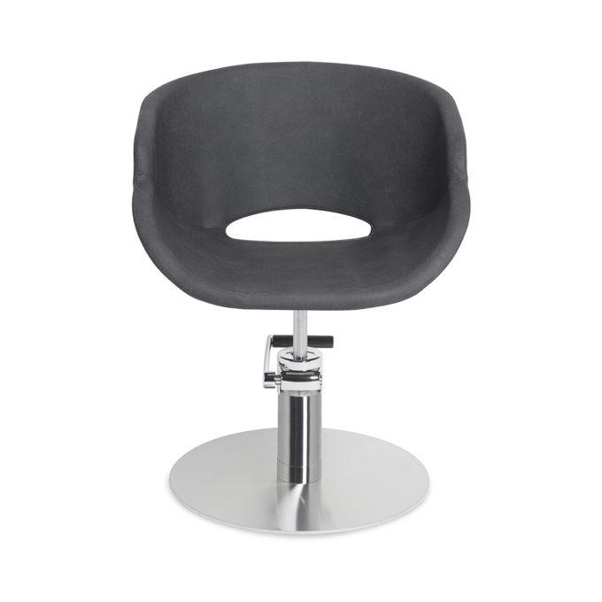 Fauteuil de salon de coiffure pied métal rond assise arrondie noir