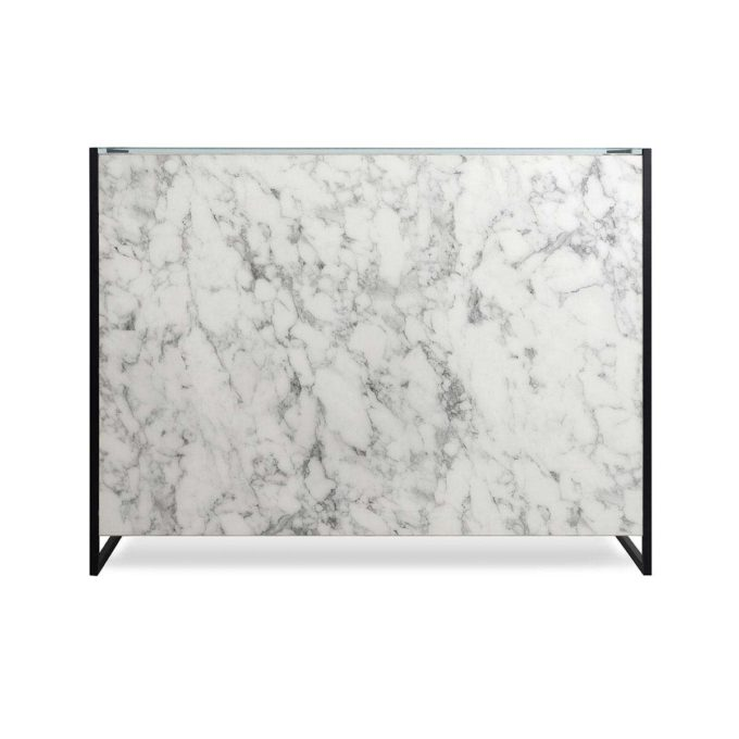 meuble caisse et d'accueil marbre et métal noir