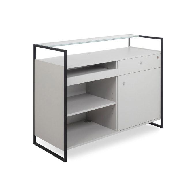 meuble caisse avec tiroir à clés et rangement et comptoir en verre