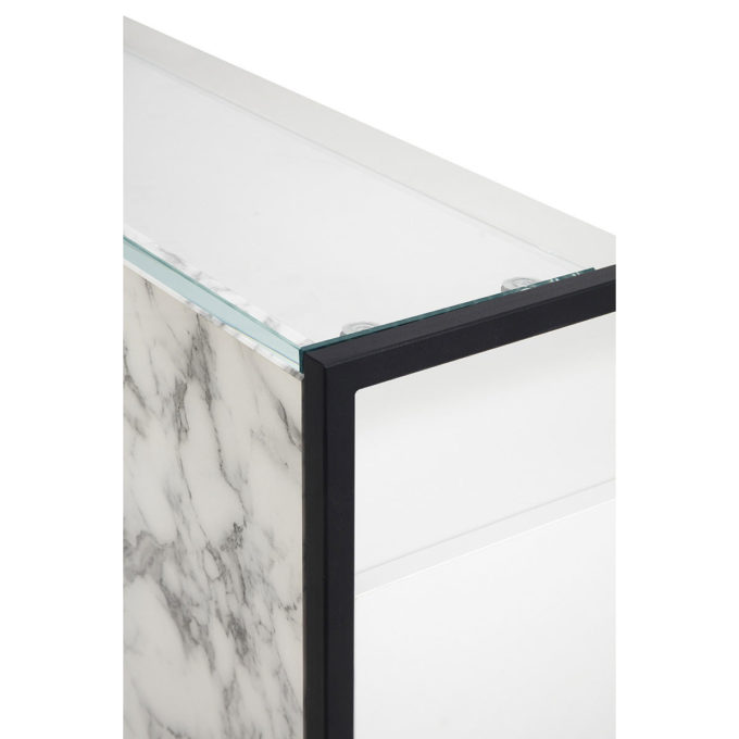 comptoir caisse en verre et marbre et bois stratifié blanc