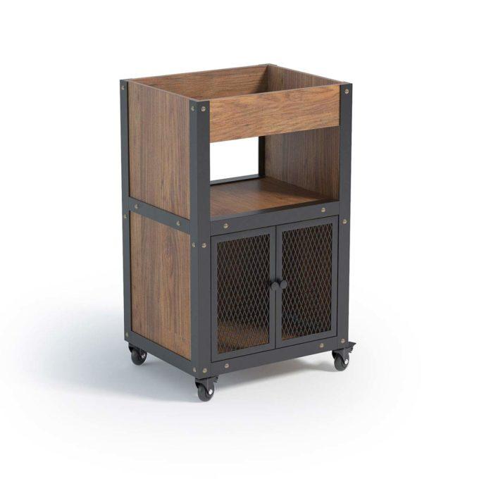 Meuble de rangement noir et bois style organique et industriel pour matériel de coiffure