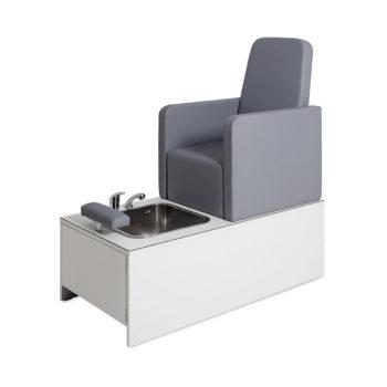Fauteuil de pédicure spa avec bain et douchette siège confortable en mousse et PVC gris, structure blanche résistante à l'eau