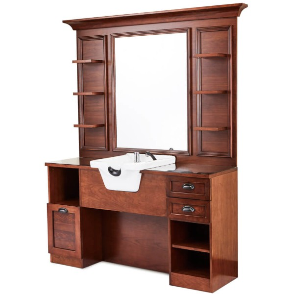 meuble barbier vintage avec grand miroir étagères rangements et évier en céramique