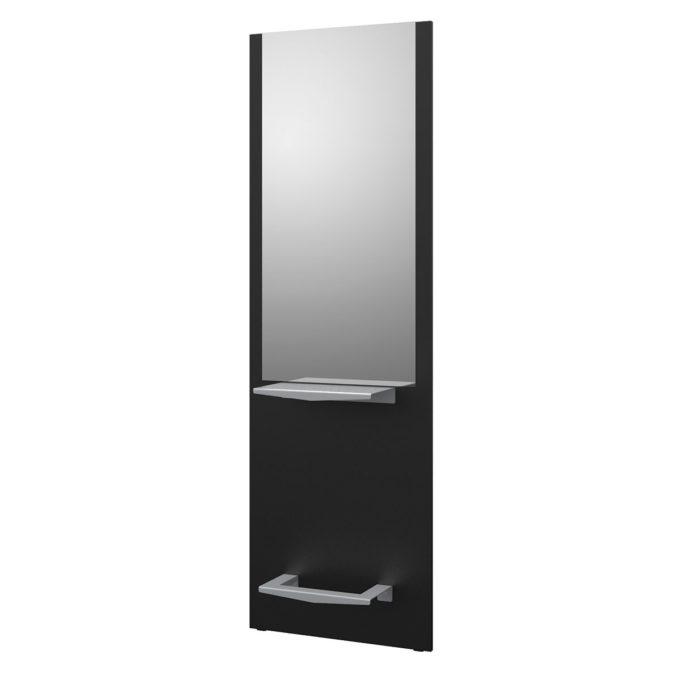 Grand miroir sur structure en stratifié noir avec tablette et repose pieds en acier inoxydables