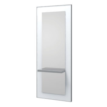 Poste de coiffage avec grand miroir et contour en bois blanc, tablette et repose-pieds