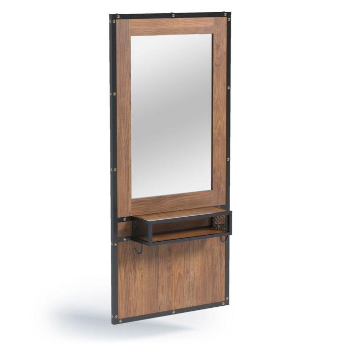 Coiffeuse en bois effet brut et métal noir, casier de rangement, tendance et économique