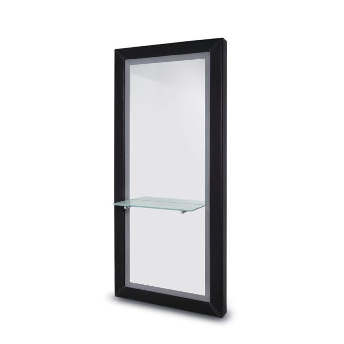 Poste de coiffage grand miroir avec éclairage LED, finitions pvc noir avec coutures apparentent et tablette en verre