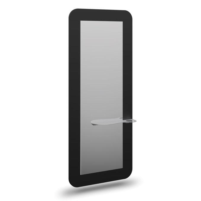 Coiffeuse contours arrondis noir avec grand miroir et tablette avec porte sèche cheveux intégré