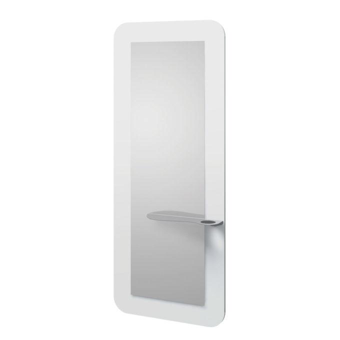 Miroir de coiffure avec contours blanc et tablette avec porte sèchoir
