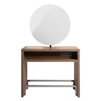 Poste de coiffure deux places miroirs ronds avec structure et rangement en bois et repose-pieds, prises électriques
