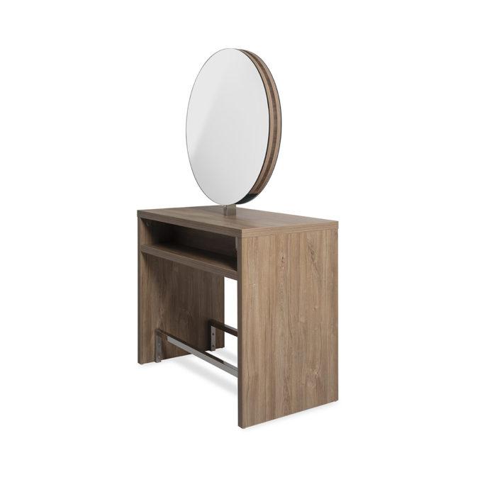 poste de coiffure 2 place îlot avec miroirs ronds et repose pieds